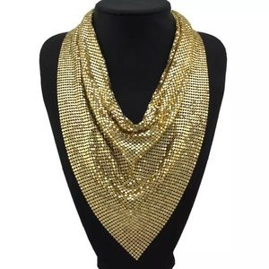 Gold Wide Metal Statement Necklace
